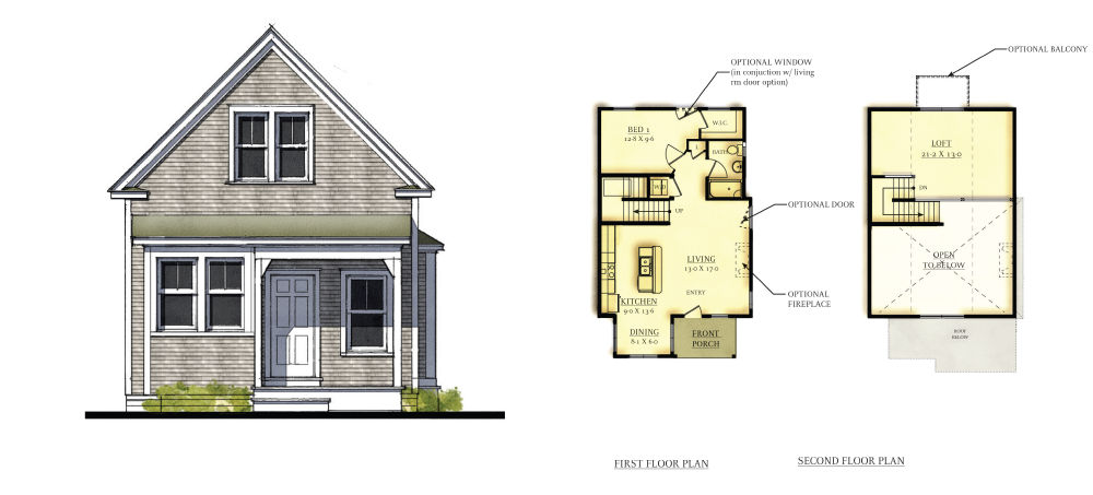 Heritage Sands Howes Cottage Plan 1-BR-Loft-1-BA